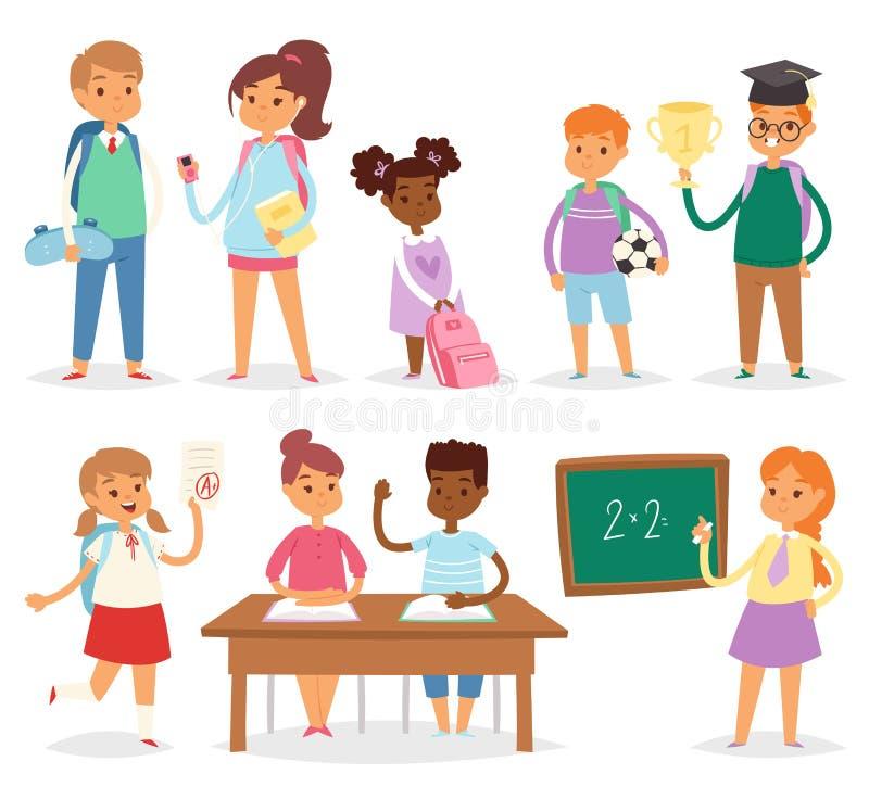 De nouveau à l'école badine l'illustration de vecteur d'école-temps d'enfants de garçons et de filles illustration de vecteur
