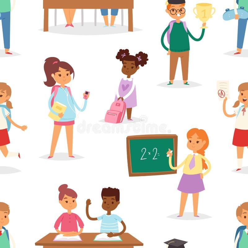 De nouveau à l'école badine le fond sans couture de modèle de vecteur d'école-temps d'enfants de garçons et de filles illustration libre de droits