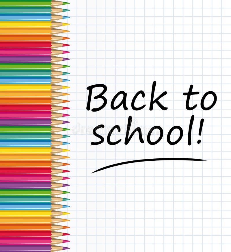 De nouveau à l'école ! Crayons colorés et feuille de papier illustration libre de droits