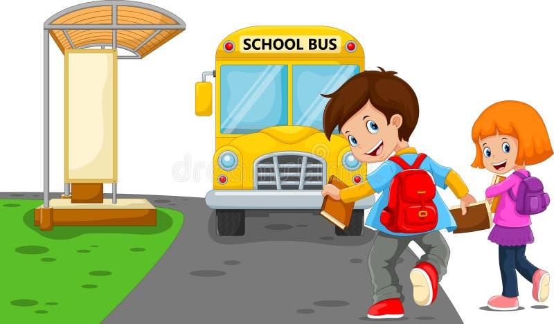 De nouveau à l'école Dirigez l'illustration des enfants de bande dessinée allant à l'école avec l'autobus scolaire illustration stock