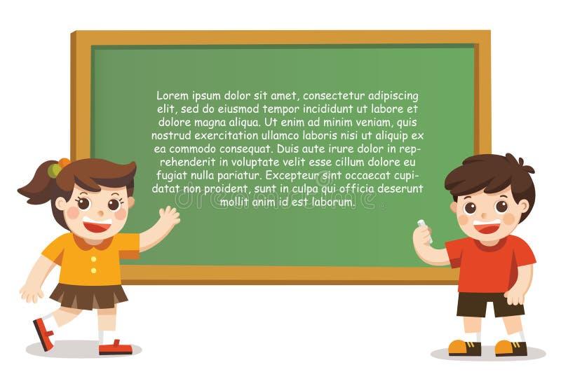 De nouveau à l'école Enfants heureux tenant l'affiche vide illustration stock