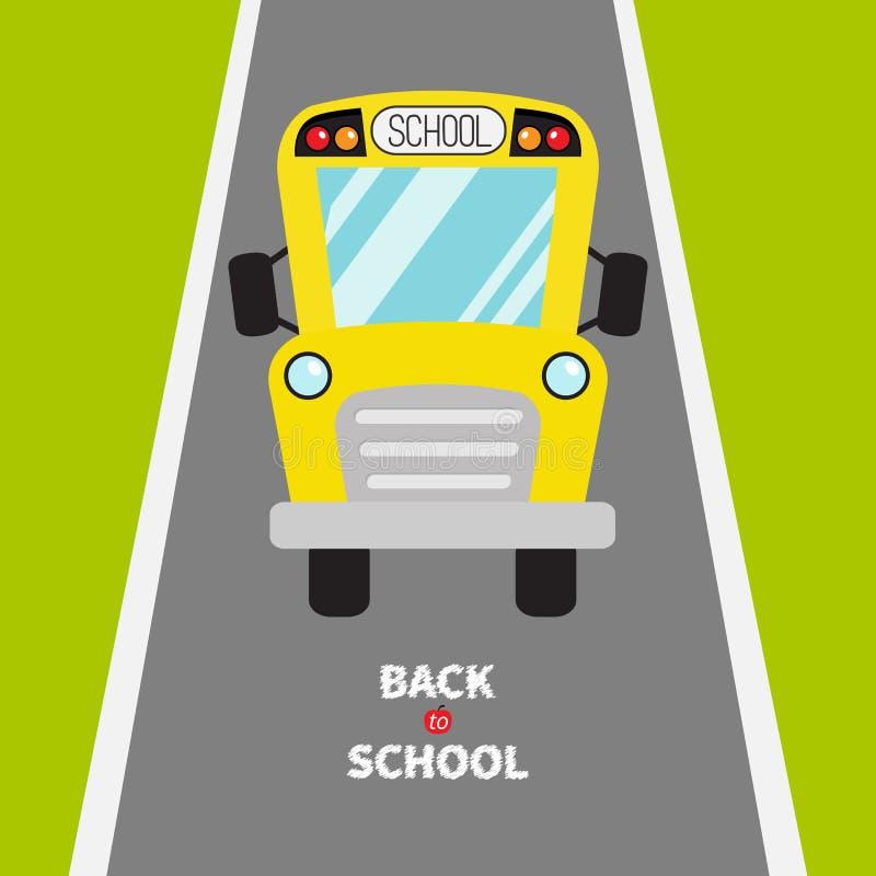 De nouveau à l'école Enfants jaunes d'autobus scolaire Herbe verte et route Clipart de bande dessinée transport Vue de plein visa illustration de vecteur