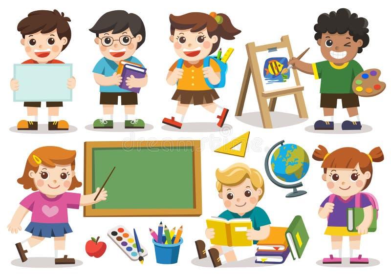 De nouveau à l'école Ensemble d'étude adorable d'étudiant à l'école isolat illustration libre de droits