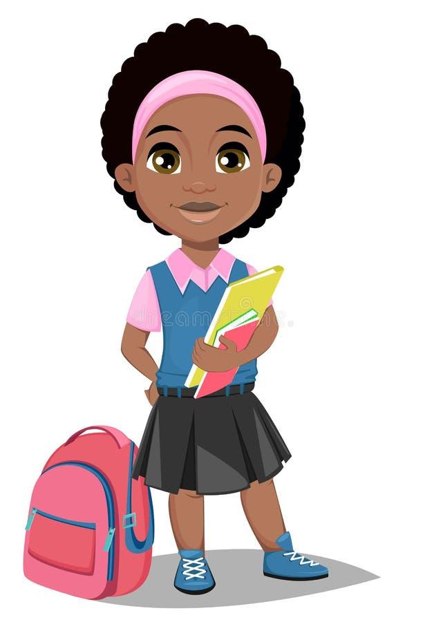 De nouveau à l'école Fille afro-américaine mignonne avec des livres dans des clo occasionnels illustration libre de droits