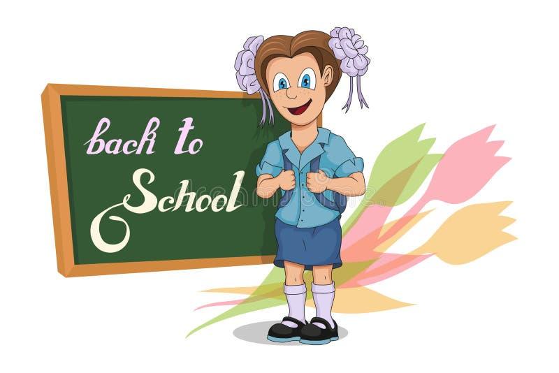 De nouveau à l'école Fille d'école de bande dessinée Dessin de main d'étudiant avec un sac à dos L'école badine le concept Écolie illustration de vecteur