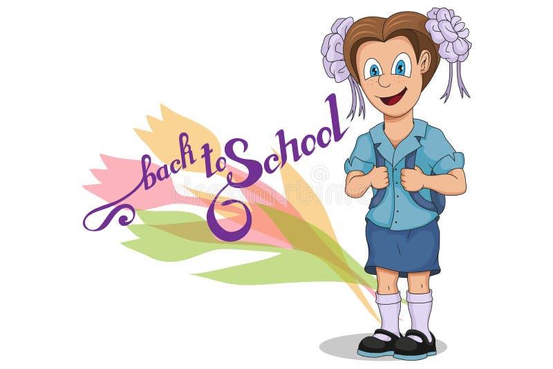 De nouveau à l'école Fille d'école de bande dessinée Dessin de main d'étudiant avec un sac à dos L'école badine le concept Écolie illustration stock