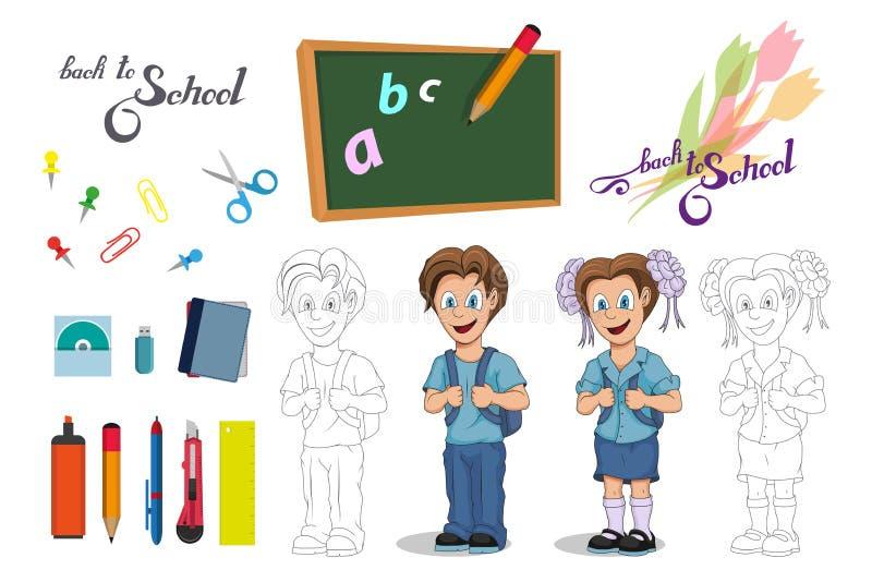 De nouveau à l'école Fille et garçon d'école de bande dessinée Dessin de main d'étudiant avec un sac à dos L'école badine le conc illustration stock