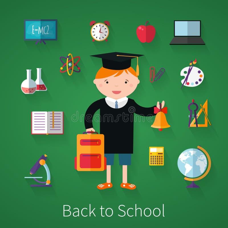 De nouveau à l'école Fond avec des fournitures scolaires illustration stock