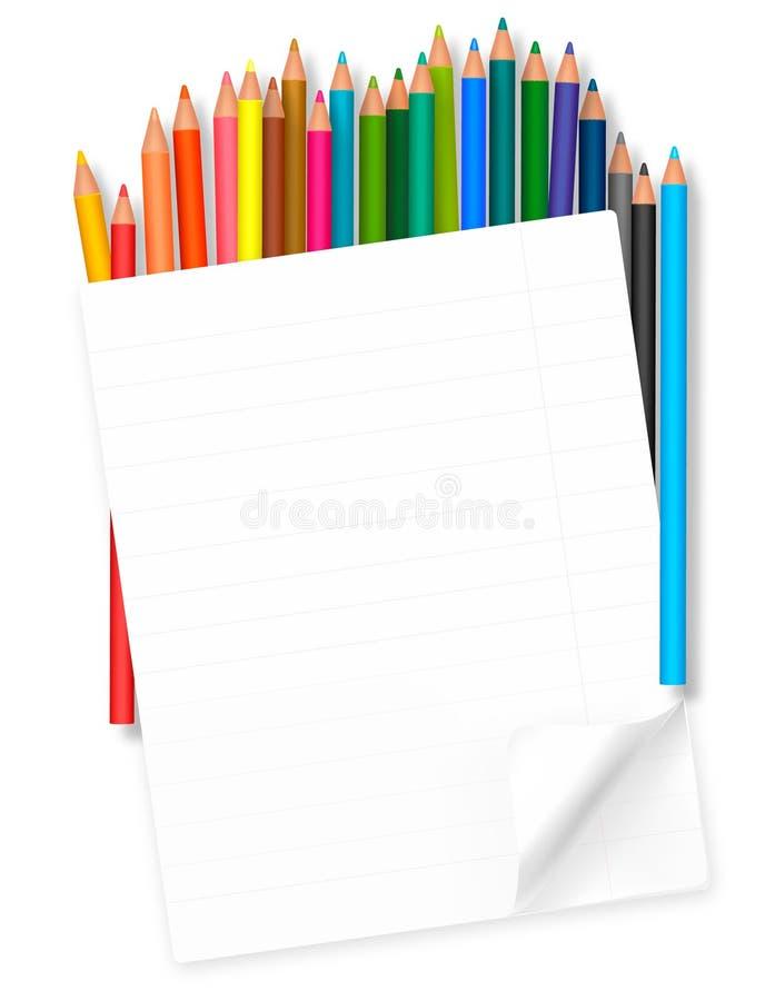 De nouveau à l'école. fond avec les crayons colorés. illustration libre de droits