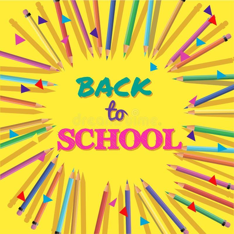 De nouveau à l'école Fond avec les crayons colorés avec l'en-tête Accueil Affiche, bannière, calibre de brochure Illustration de  illustration de vecteur