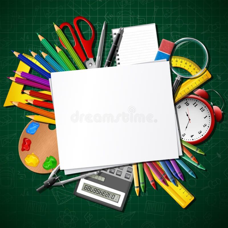 De nouveau à l'école Fournitures scolaires et papier blanc illustration stock