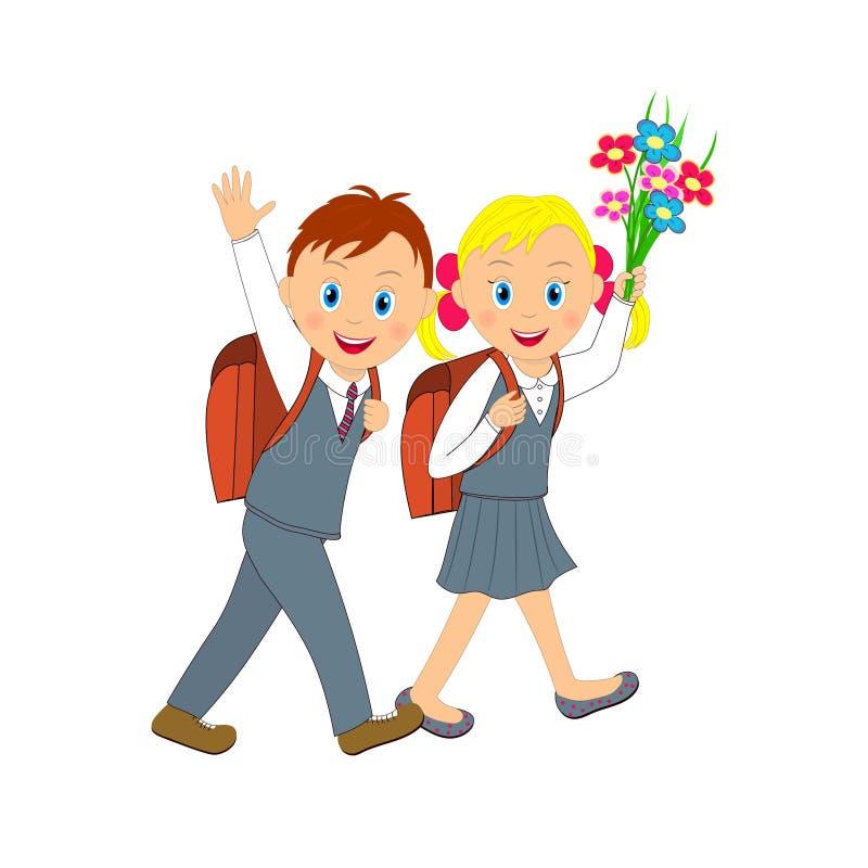 De nouveau à l'école Garçon et fille allant à l'école illustration stock