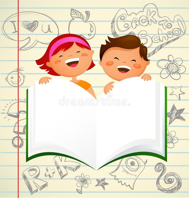 De nouveau à l'école - gosses avec un livre ouvert illustration libre de droits
