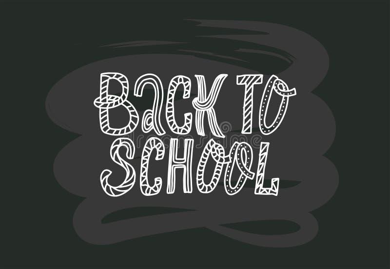 De nouveau à l'école gribouille marquer avec des lettres la citation sur le tableau noir expression tirée par la main noire et bl illustration stock