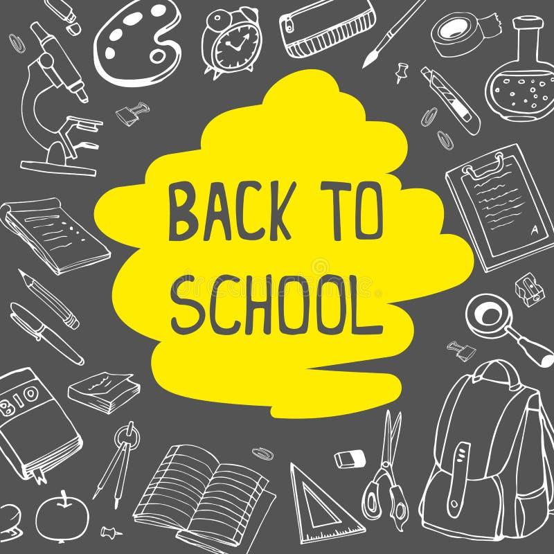 De nouveau à l'école gribouille sur le fond de tableau avec le jaune soulignent Illustration de dessin de main de vecteur illustration libre de droits