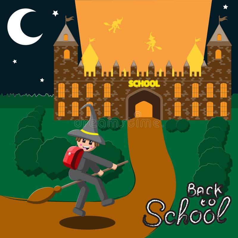 De nouveau à l'école, illustration d'un vol médiéval d'écolier de mois de cours du soir sur un balai dans un chapeau Image de vec illustration de vecteur