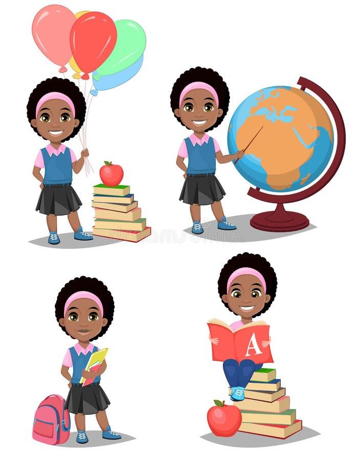 De nouveau à l'école La fille afro-américaine mignonne est prête pour l'étude P illustration stock