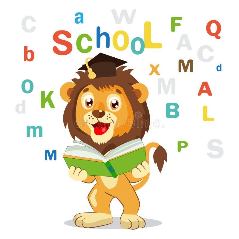 De nouveau à l'école Lion Read Book On drôle un fond blanc Illustrations de vecteur de bande dessinée illustration libre de droits