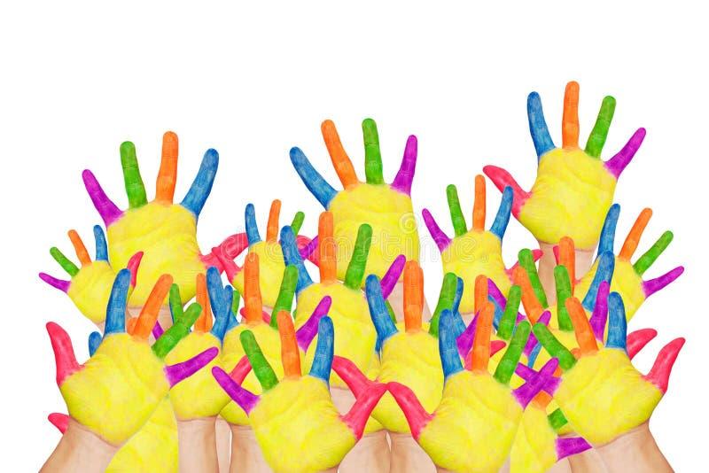 De nouveau à l'école ! Mains augmentées colorées image libre de droits