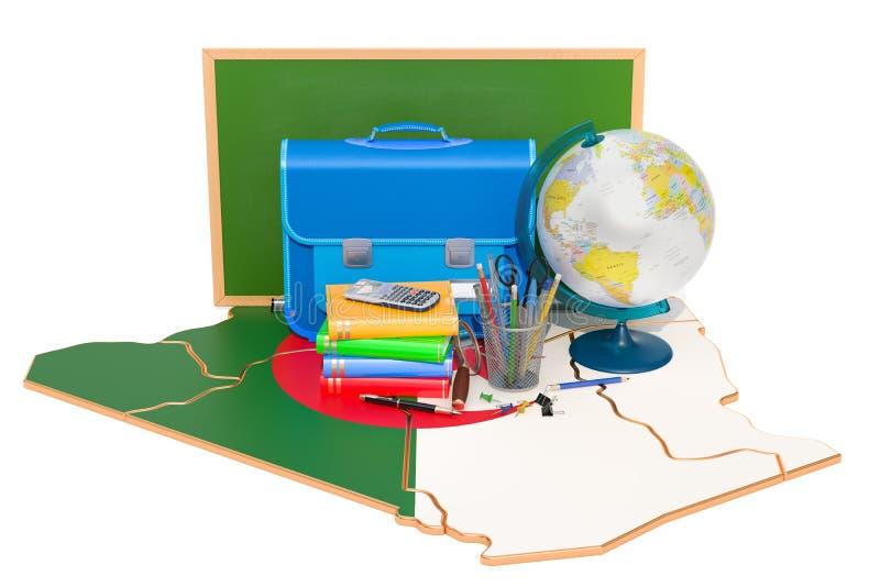 De nouveau à l'école ou à l'éducation dans le concept de l'Algérie, rendu 3D illustration de vecteur