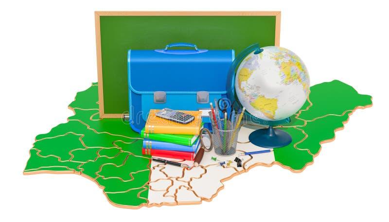 De nouveau à l'école ou à l'éducation dans le concept du Nigéria, rendu 3D illustration stock