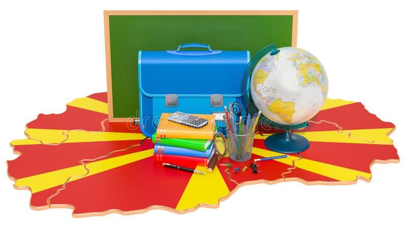 De nouveau à l'école ou à l'éducation dans le concept de Macédoine, rendu 3D illustration libre de droits