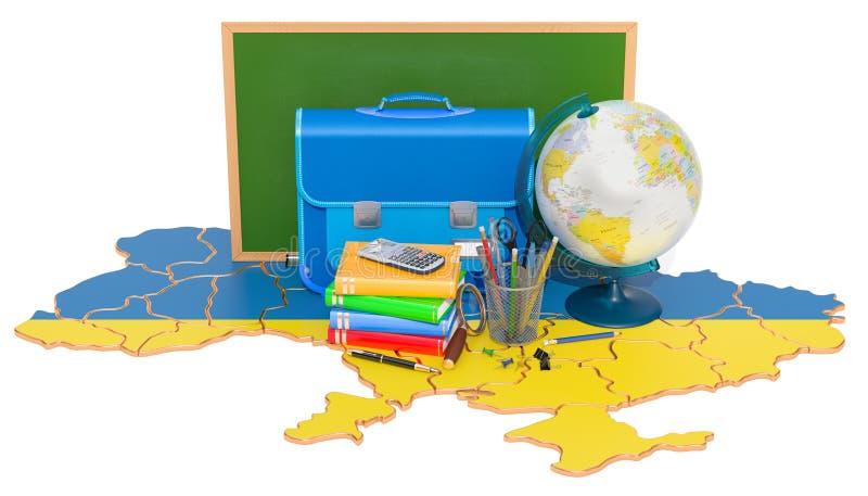 De nouveau à l'école ou à l'éducation dans le concept de l'Ukraine, rendu 3D illustration libre de droits