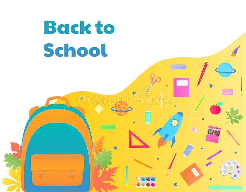 De nouveau à l'école, sac à dos avec des approvisionnements d'étude, papeterie Vaisseau spatial, comète, planète illustration libre de droits