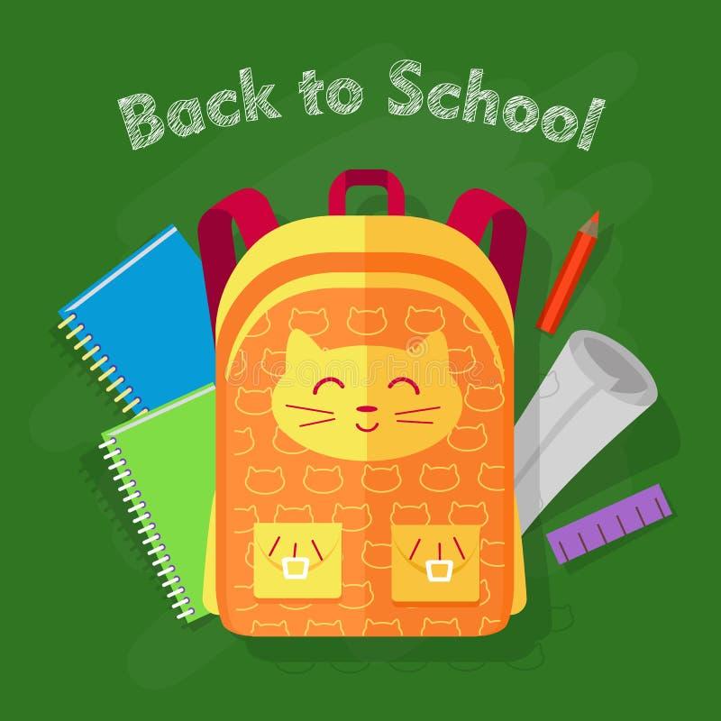 De nouveau à l'école Sac orange sur le fond vert illustration stock