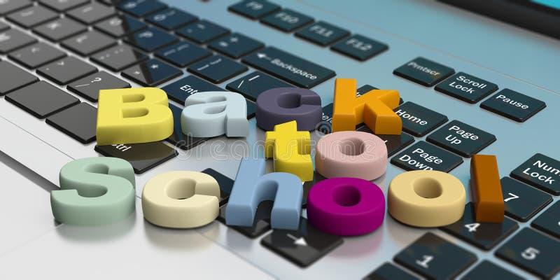 De nouveau à l'école sur un clavier d'ordinateur portable illustration 3D illustration de vecteur