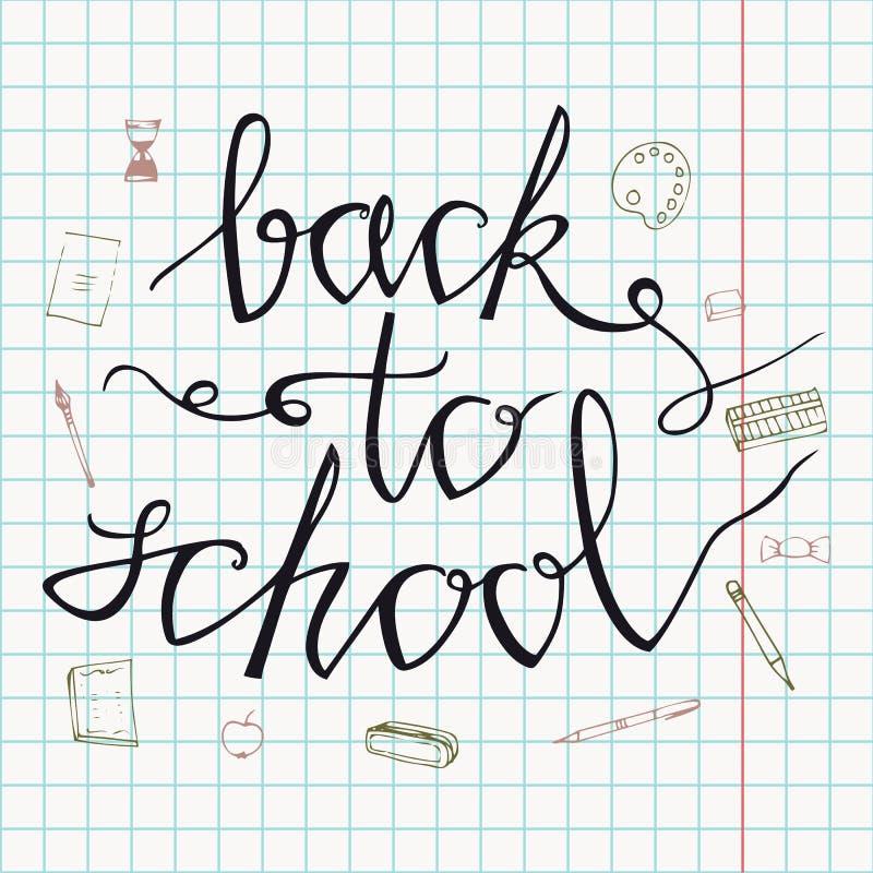 De nouveau à l'école Tiré par la main de nouveau aux griffonnages d'école Fond de papier Illustration de vecteur Remettez les art illustration de vecteur