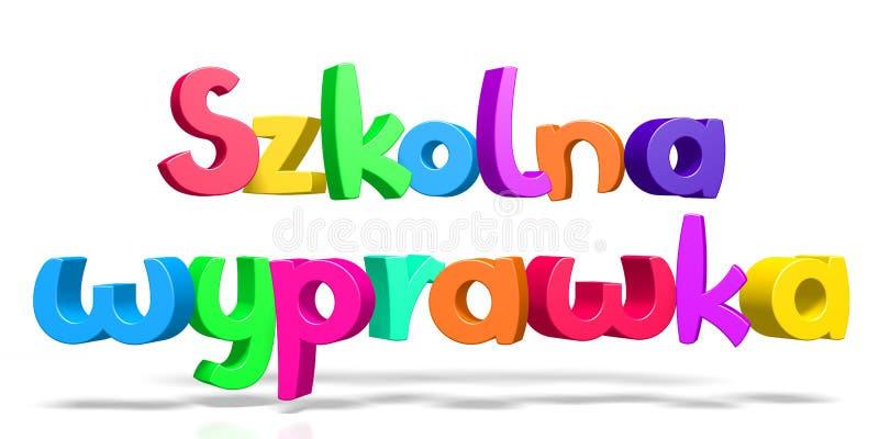 De nouveau à l'école - wyprawka anglais de Szkolna - polonaise illustration stock