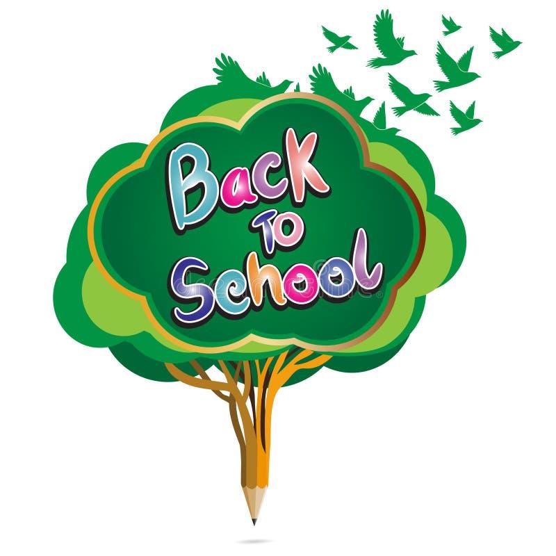 De nouveau à l'éducation de crayon d'école par le pommier et le hibou verts illustration de vecteur
