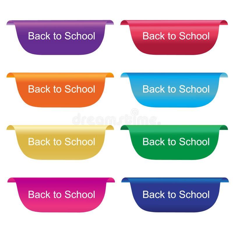De nouveau à l'étiquette d'école, le label, insigne, signe, horizontal, dirigent l'illustration dans la conception plate illustration de vecteur
