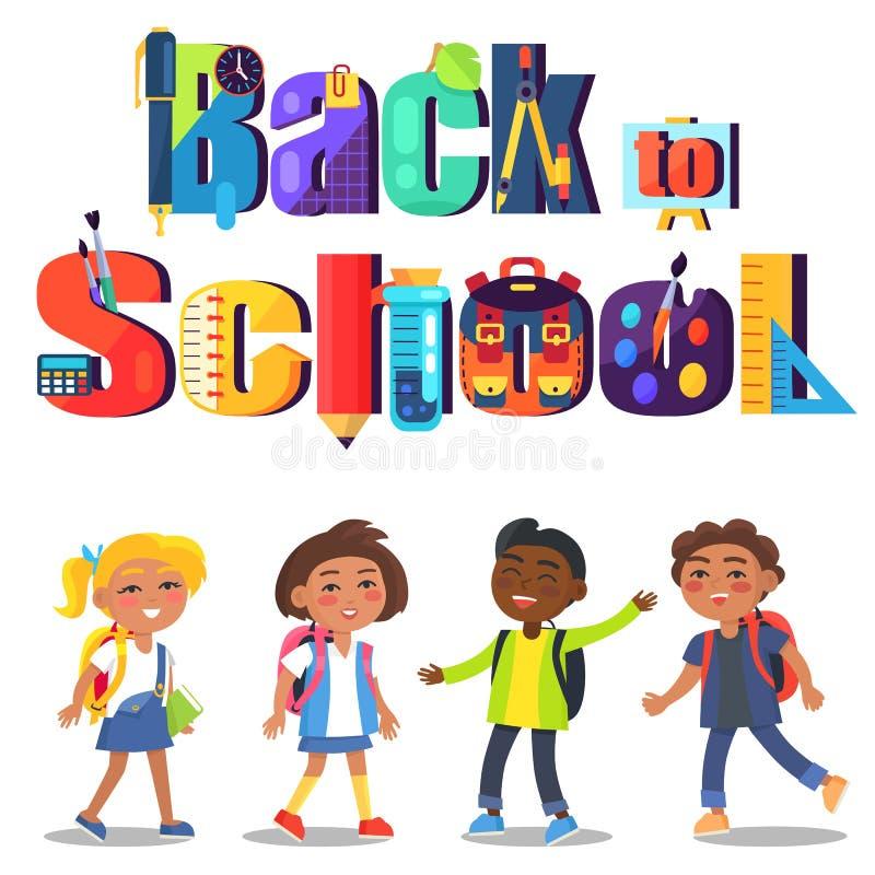 De nouveau à l'affiche d'école avec l'inscription et les enfants illustration de vecteur
