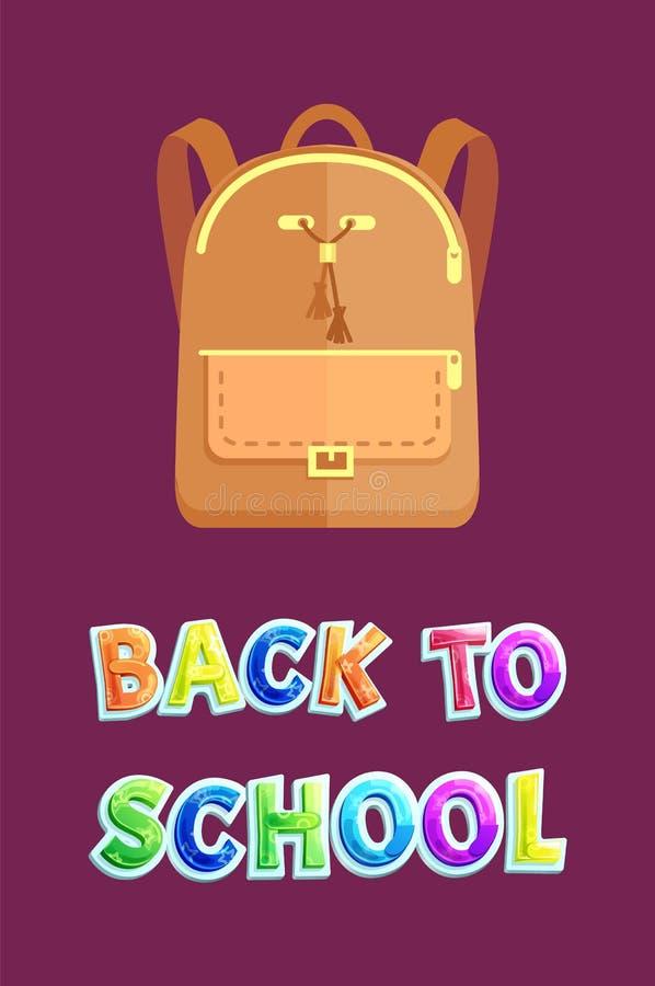 De nouveau à l'affiche d'école avec le sac à dos beige en cuir illustration libre de droits