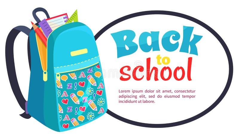De nouveau à l'affiche d'école avec le sac à dos à la mode illustration stock