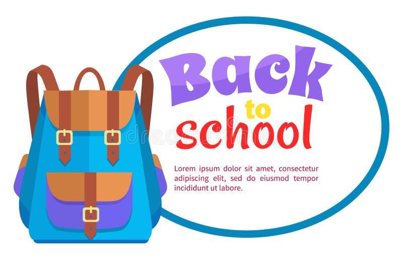 De nouveau à l'affiche d'école avec le vecteur unisexe de sac à dos illustration stock