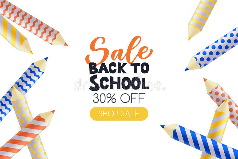 De nouveau à l'affiche de vente d'école, calibre de conception de bannière Illustration du vecteur 3d des fournitures scolaires C illustration de vecteur
