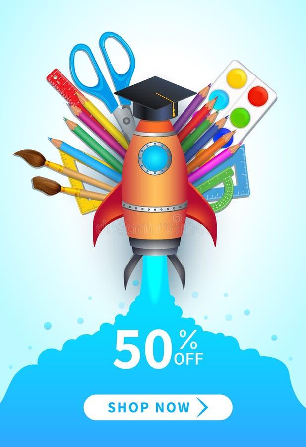 De nouveau à l'affiche de vente d'école, à la bannière, à la conception plate avec les approvisionnements réalistes colorés et au illustration stock
