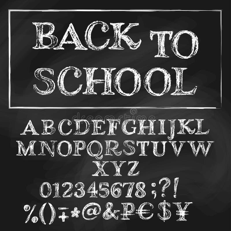 De nouveau à l'alphabet romain de craie d'école illustration de vecteur