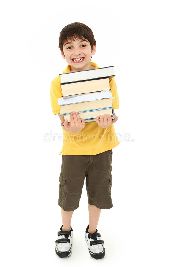 De nouveau à l'enfant de garçon d'école avec des manuels photos libres de droits