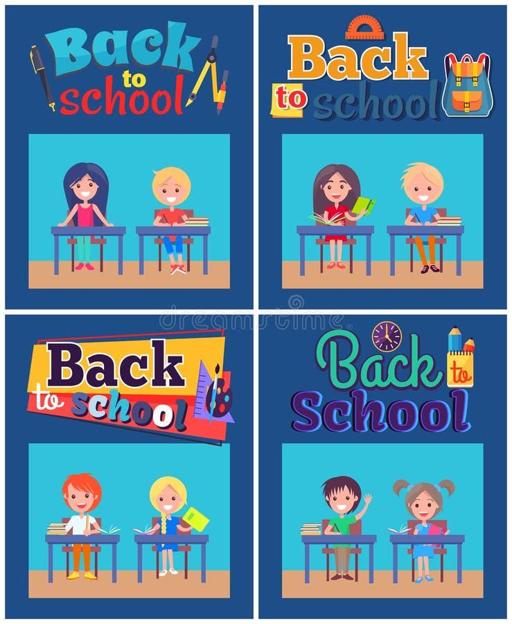 De nouveau à l'ensemble d'école d'affiches avec des élèves aux bureaux illustration stock