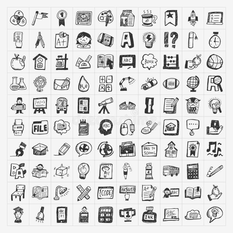 De nouveau à l'ensemble d'icône de main-aspiration de griffonnage d'école illustration de vecteur