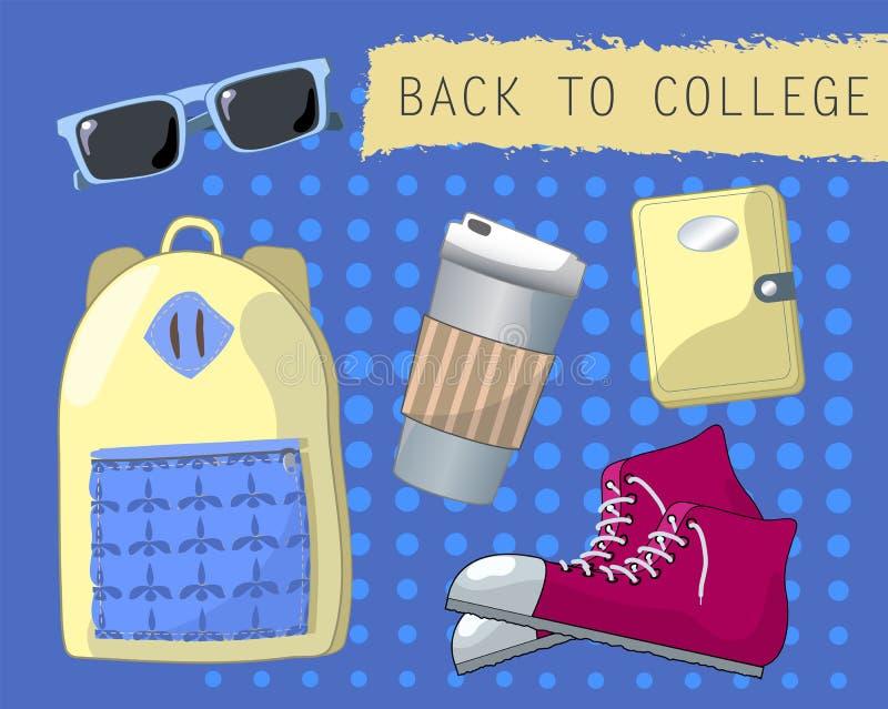 De nouveau à l'ensemble d'université d'objets Accessoires de mode de la jeunesse illustration libre de droits
