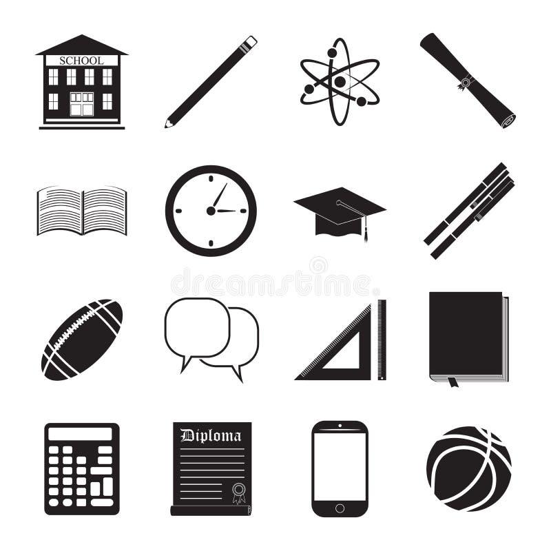 De nouveau à l'ensemble de vecteur d'icône d'école, le bâtiment scolaire, le stylo, le pensil, les articles de sport, le diplôme  illustration libre de droits