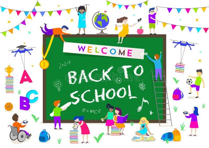De nouveau à l'illustration d'école Groupe d'enfants actifs autour d'un grand tableau avec la salutation illustration stock
