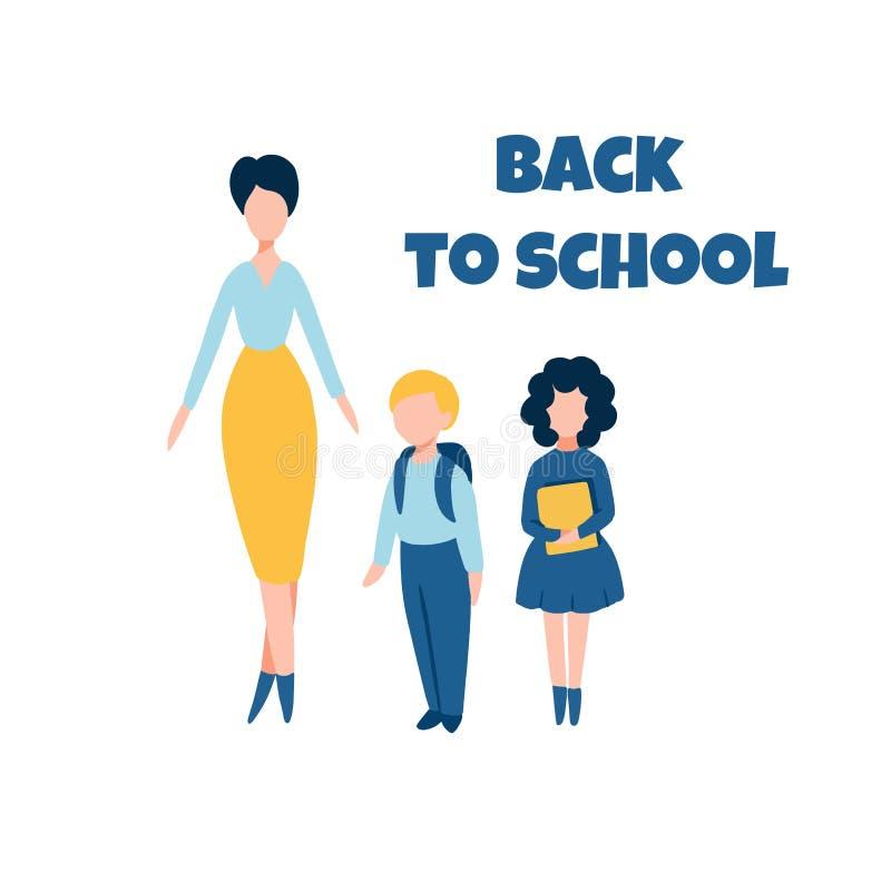 De nouveau à l'illustration plate d'école avec le professeur féminin et deux écoliers illustration stock