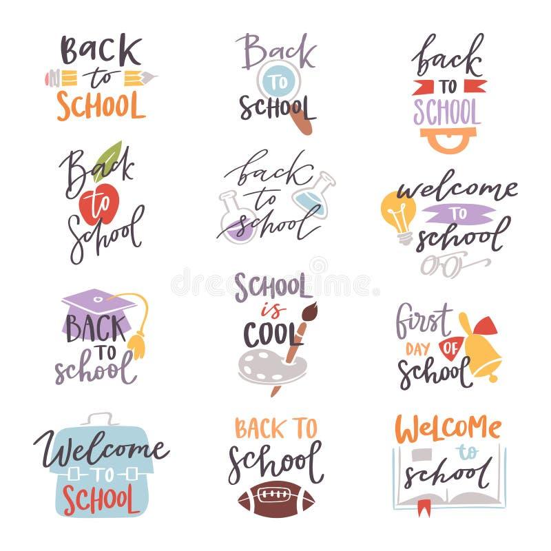De nouveau à l'illustration réglée de vecteur des textes de conception de lettrage d'insigne de logo d'école illustration de vecteur