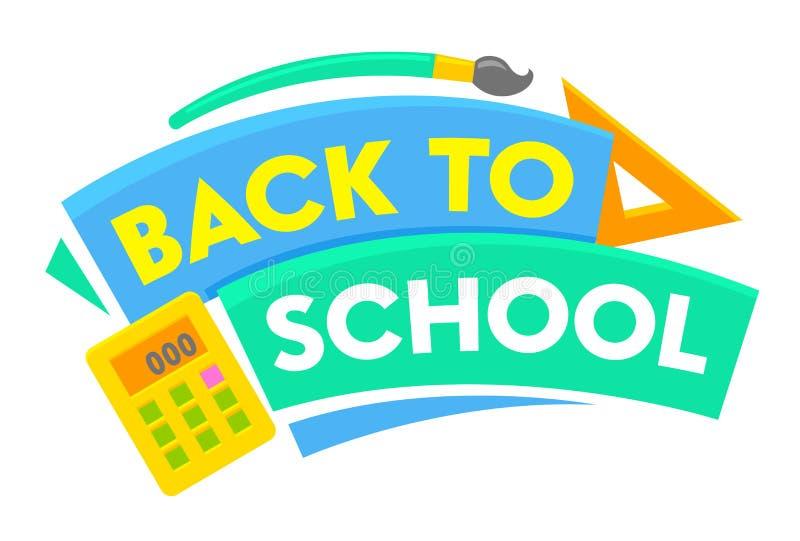 De nouveau à la bannière d'école avec le titre et les éléments colorés Affiche éducative d'annonce avec des approvisionnements de illustration libre de droits